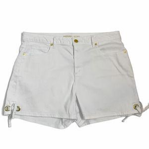 Michael Kors White Denim Tie Shorts Size 12